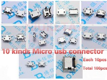 100pcs 10pcs each for 10 kind Micro USB 5Pin jack tail socket micro usb Connector port sockect for samsung Lenovo Huawei ZTE HTC(Hong Kong)