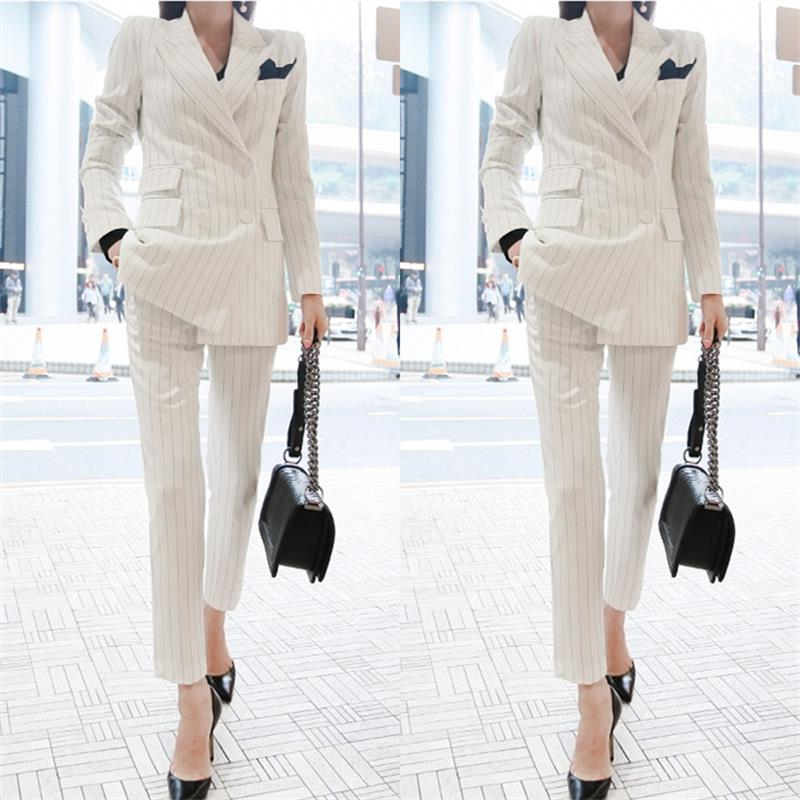 Women's fashion casual suit suit / women's business coat white striped solid color double-breasted suit jacket +pants pants suit