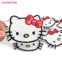 ZYFMPTEX 2017 Cat Sequins Patch Kitty Applique For Clothing T-shirt Decorative Laminated DIY Garment Accessories Free Shipping