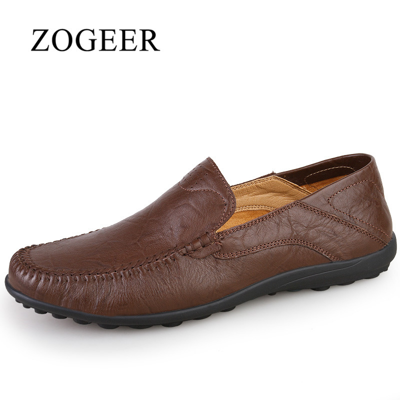 ZOGEER Big Size 38-47 Genuine Leather Men Loafers, Winter With Fur Slip On Men Moccasins, 2017 New Casual Man Shoes<br>