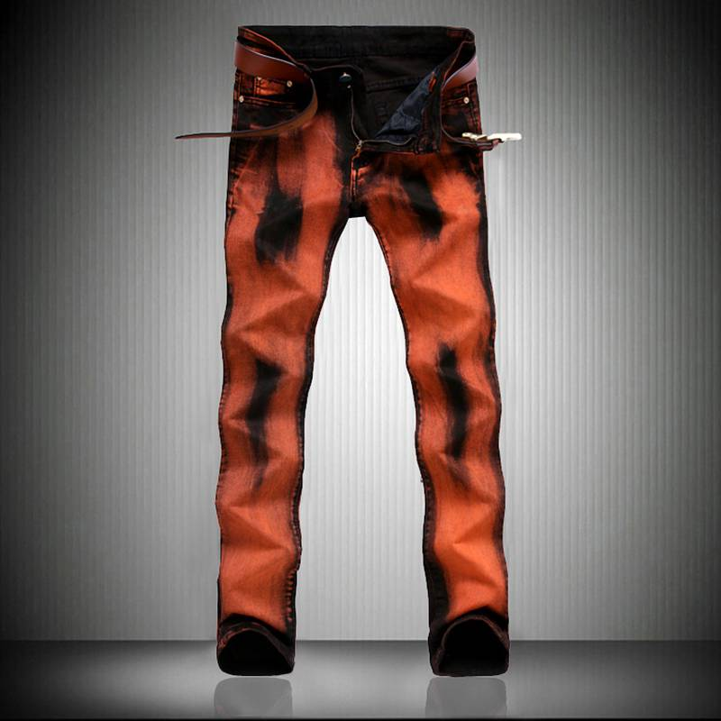 Creative Orange Printed Jeans Men Europe United States Style Nightclubs Personality Stretch Slim Straight Graffiti Biker JeansÎäåæäà è àêñåññóàðû<br><br>