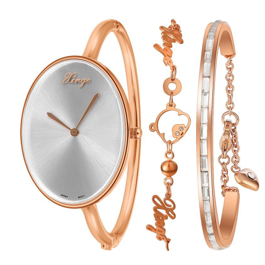 Womens Watch Women Gold Rhinestone Bangle Watch And Bracelet Set FashionablePrecise time Fashion Wristwatch Top Gift JY12<br>