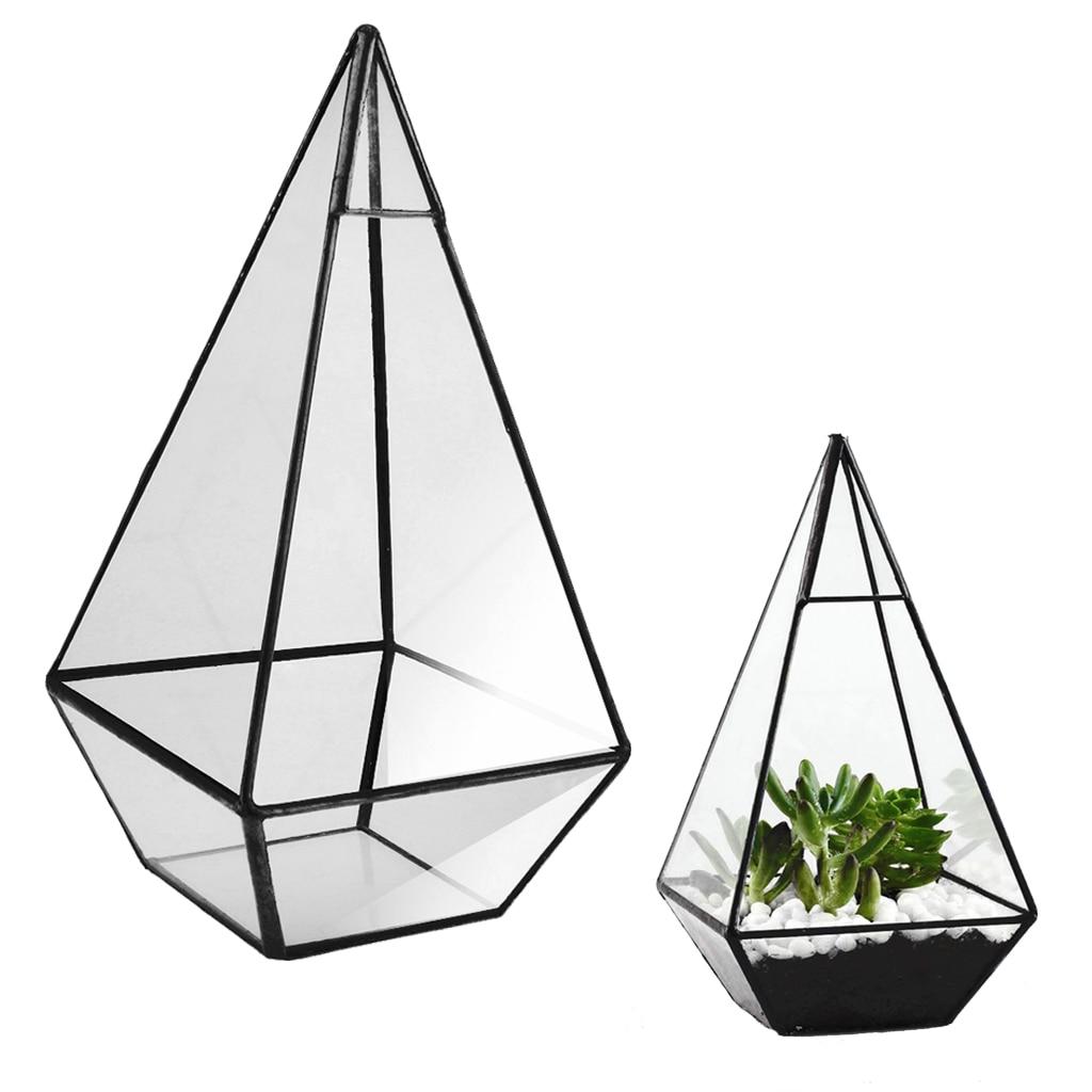Pyramid Glass Geometric Terrarium Box Tabletop Succulent Planter Gift Black
