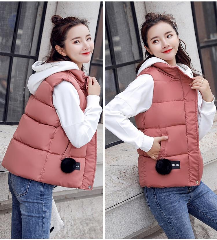 NIJIUDING M-XXXL 2018 New Parka Spring Autumn Slim Velvet Women Vest Jacket Warm Cotton-padded Winter Plus Size Waistcoat female (5)