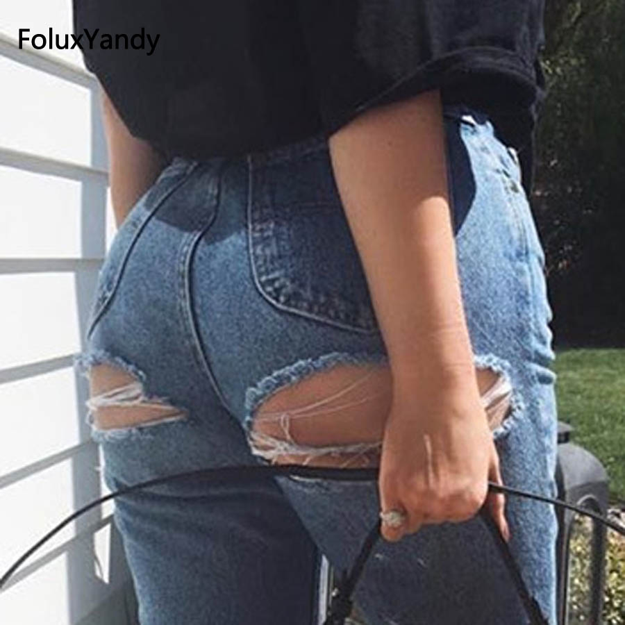Hole Denim Jeans New Casual Plus Size Slim Skinny Denim Pencil Pants Ripped Jeans Blue Trousers TS60Îäåæäà è àêñåññóàðû<br><br>