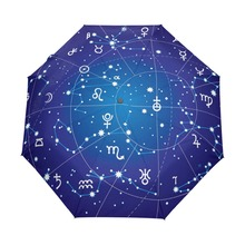2017 New Arrival 12 Constellations Novelty Umbrella Three Folding Galaxy Space Stars Women Rain Umbrella Automatic Free Shippinp(China)