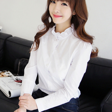 Buy Summer Spring Women White Blouse Stand Long Sleeve Shirts Ladies Office Blouse Work Elegant Female Top Women Clothing for $10.14 in AliExpress store