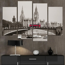 Home Decor Canvas HD Printed Modern Painting 4 Pieces Wall Art Photo London Red Bus Poster Landscape Pictures Frame PENGDA