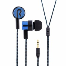 Metal Earphones Jack Standard Noise Isolating Reflective Fiber Cloth Line 3.5mm Stereo In-ear Earphone Earbuds(China)