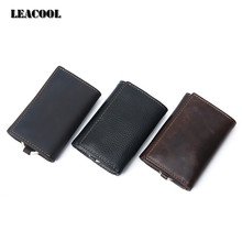 Leacool Multi Function 100% Genuine Leather Cowhide Men Car Key Wallet Wallets Card Holder Bag Coin Purse Housekeeper Organizer