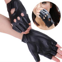 2016 Hot Fashion Women's Half Finger Gloves Female PU Leather Fingerless Driving Mittens Cut Out Street Style Glove(China)