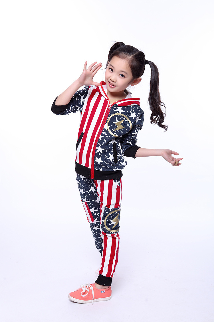 2015 Brand Autumn Spring Girls Boys Print Star Sport Wear Cotton Clothing Set Long Sleeve Top+ Pants Clothing Set Free Shipping<br><br>Aliexpress