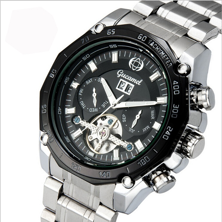 Automatic Mechanical Watch Mens Hollow Watch Mineral Glass With calendar display month and week Stainless steel/Leather strap<br><br>Aliexpress