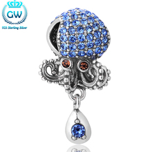 Silver 925 Jewelry Octopus Bead Micropave Setting Blue Stone Cz Charm Fit Charm Bracelets GW Brand Jewellery S339(China)