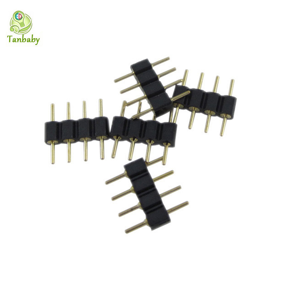 Tanbaby 10pcs/lot 4 Pin RGB Connector Adapter pin needle male type double 4pin,For RGB 5050 3528 LED Strip DIY lights insert<br><br>Aliexpress