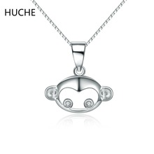 HUCHE Brand Animal Necklace for Women Sterling-Silver-Jewelry Silver Necklace & Pendant Anime Monkey Gift Silver Color ZA306()