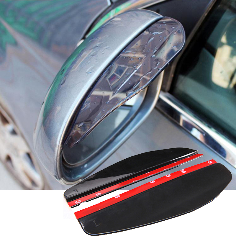 2Pcs/pair Universal Flexible PVC Car Rearview Mirror Rain Shade Rainproof Blades Car Back Mirror Eyebrow Rain Cover Accessories