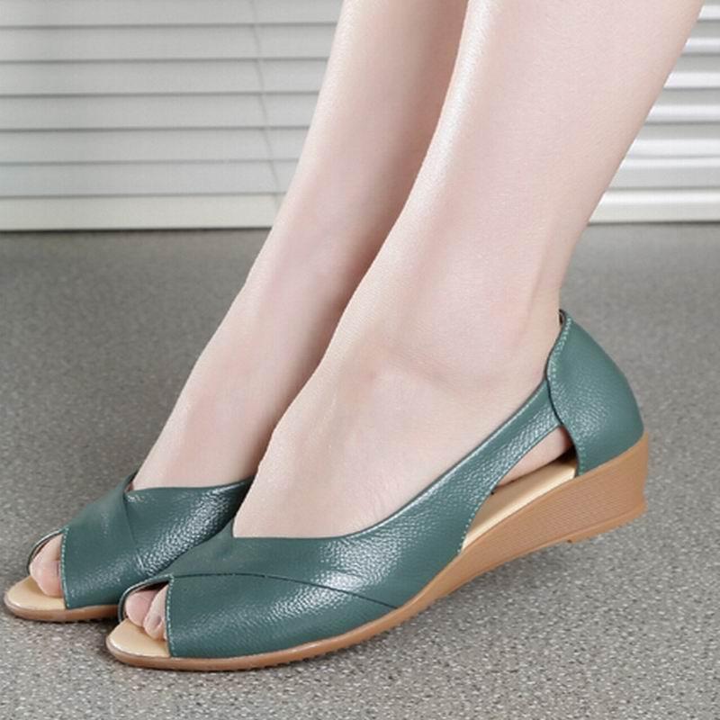 Fashion 2017 New Summer Shoes Woman Open Toe Shoes Women 100% Genuine Leather Wedge Sandals Platform Sandals Women Sandals<br><br>Aliexpress