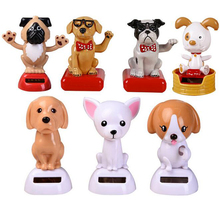 New Creative Small Cute Pet Dog Say Hello Non Electric Shaking Head Solar Toys Car Desktop Decor Birthday Christmas Gifts(China)