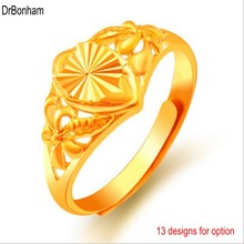 Wholesale 24K Gold flower rings for Women Gold Color Dubai Bride Wedding Africa india alliance Jewelry wholesale(China)