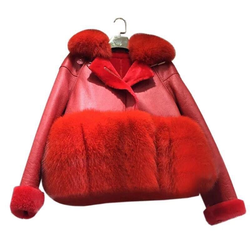 genuine sheep leatherskin jacket fox fur cooar coats (25)