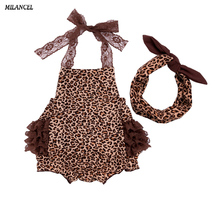 MILANCEL 2018 Infant Baby Set Leopard Bodysuit Bow Headband 2 Pcs Baby Girls Clothing Set Fashion Summer Girls Set Baby Clothes(China)