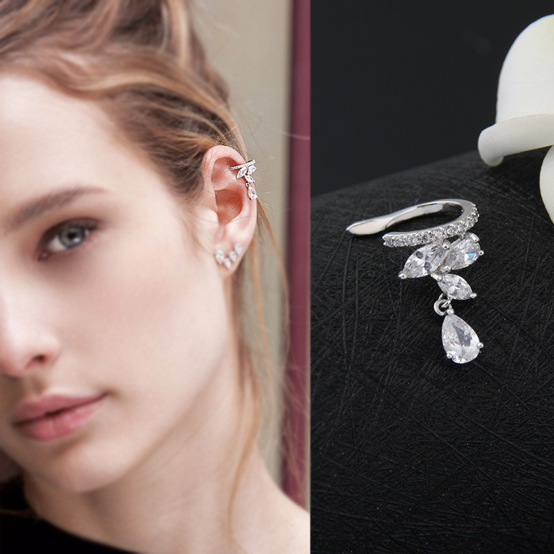 Fashion Drop Water Clip Earrings Jewelry Zirconia Crystal Jackets Jewelry Cuff Earrings For Women Boucle D'oreille Aros AE230(China (Mainland))