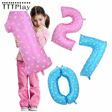 40inch Pink Blue Number Foil Balloons Inflatable Digit Helium Air Balls Wedding Decoration Happy Birthday Party Balloon Supplies(China)