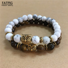 New Retro Lava Stone Buddha Natural Stone Beads Owl Pendant Beaded Volcanic Rock Elastic Bracelet Bangle(China)