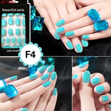 JETTING-Colorful 24pcs Nail Sticker French Acrylic False Fake Nail Art Fingernail Full Tips Solid Nail Patch Sticker