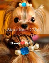 Custom handmade crystal pearl  puppy hair clip princess temperament hairpin for dog  pet  hair accessories 2pcs/lot
