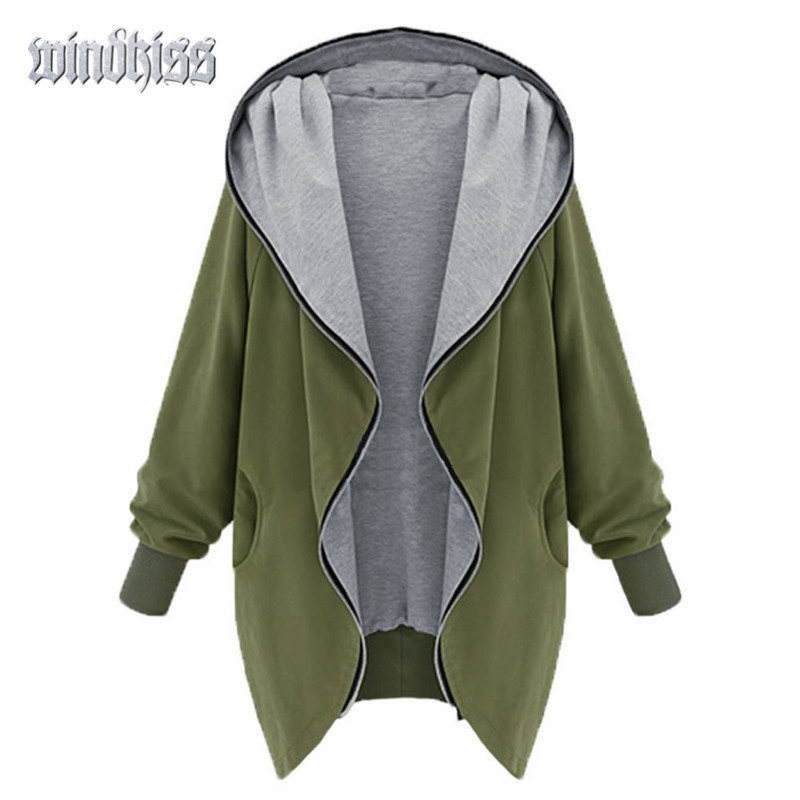 Plus Size XL-5XL Autumn Winter Outwear Fashion European Style Womens Zipper Up Hooded Coat Long Sleeve Outwear Two Colors 40%OFFОдежда и ак�е��уары<br><br><br>Aliexpress