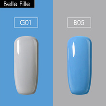 Belle Fille 2PCS 10ml Gel Nude Color Gray Makeup Nail Polish Gel Lacquer Color Gel Set Hybrid Lacquer Sky Blue for Fake Finger(China)