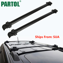 Partol Black Car Roof Rack Cross Bars Roof Luggage Carrier Roof Rail Bike Rack For Dodge Journey with vertical side bars(China)