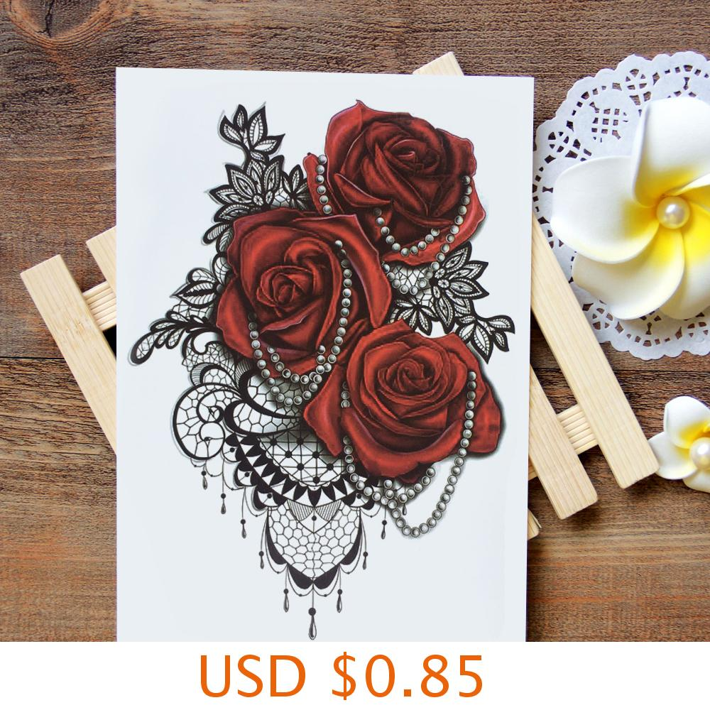 sexy romantic dark rose flowers flash fenna tattoos fake Waterproof temporary tattoos stickers body art Tattoo sleeve 4