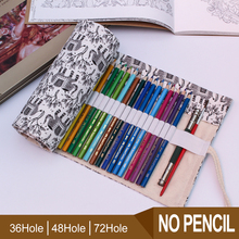 Pencil Case Animal 36/48/72 Holes Portable Canvas Roll Up Elephant Pencil Bag Case Students Used