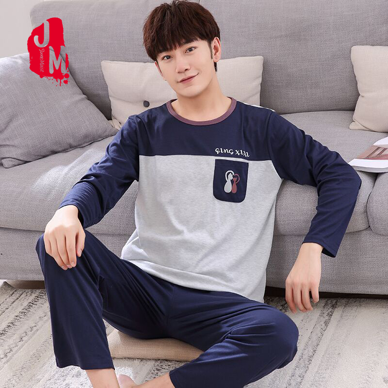 Winter Autumn Mens Pajamas 100%Cotton Letter Striped Cartoon Pajama Set Long-sleeve Casual Men Pyjamas Plus Size L-XXXXL Pijama