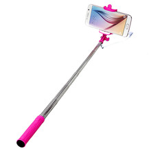 Malloom 2017 Mini Extendable Palo Wired Selfie Stick Handheld Monopod Tripod for IOS Android Mobile phone Camera Hot Pink(China)