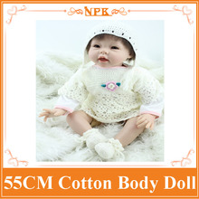22Inch Dolls 55cm Silicone Baby Reborn Dolls With Cotton Body Dressed in White Sweater Lifelike Doll Reborn Babies Toys for Girl