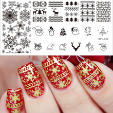 BORN PRETTY Nail Stamping Plates Xmas Christmas Snowflake Nail Art Stamp Image Template Manicure Nail Decoration Tool BP-L032