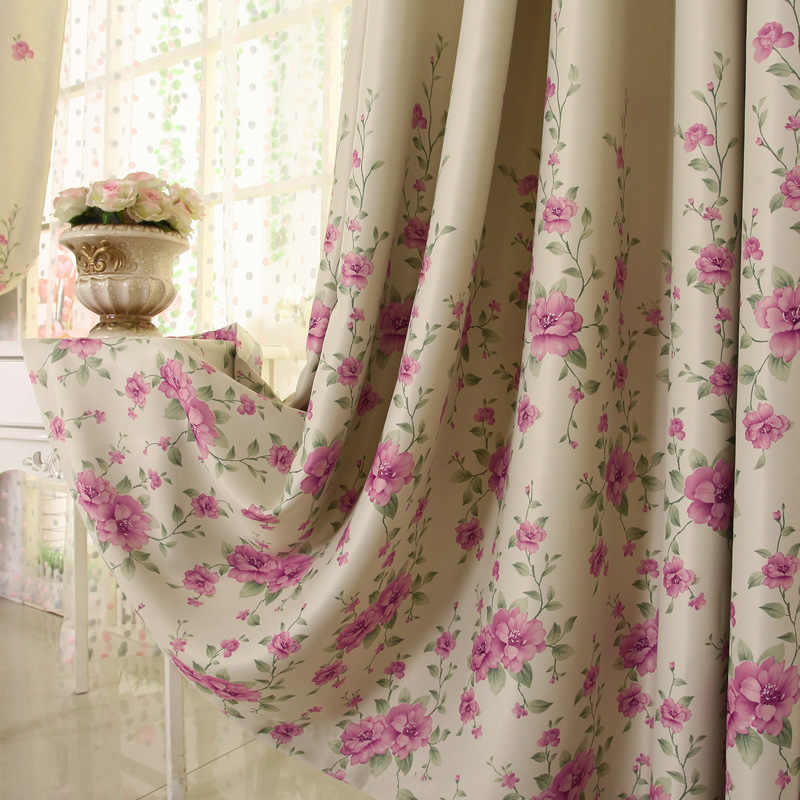 2019 Curtains for Living Room American Pastoral Style High Grade Double-sided Printing High Shading Window Curtains for Bedroom