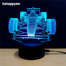 Racing car 3D LED Light Sign Funny Acrylic LED Sign Home Decor Gift Bar Desktop Decoration Panels Plate Plaques