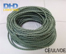8m/lot 2 cores*0.75mm Vintage Fabric Electrical Cable braided Retro Electric Wire For LED Pendant Light Olive green Lamp Cord