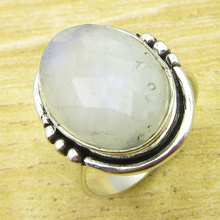 Rainbow Moonstone Ring Size US 6.75 !  Silver Plated Metal Jewelry NEW