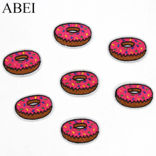 10pcs/lot Embroidered Donuts Patch Iron On Cartoon Sweet Food Appliqued DIY Stickers Garment Sewing Accessories Supplier