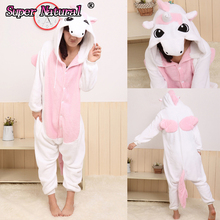 HKSNG One Piece Blue Pink Purple Unicorn Cheap Kigurumi Footed Adult Onesie Cosplay Costume Women Animal Flannel Pajamas