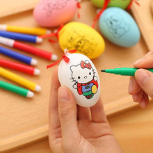 2017 New Cute Children Handmade DIY Painted Eggs Cartoon Christmas Painting Eggs Kids Educational Toys Birthday Party Gift