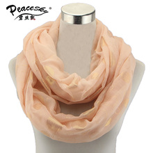 Hot Selling Gold Print Infinity Scarf Ladies Women Viscose Dots Snood Loop Circle Ring Scaves Cheap Free Shipping