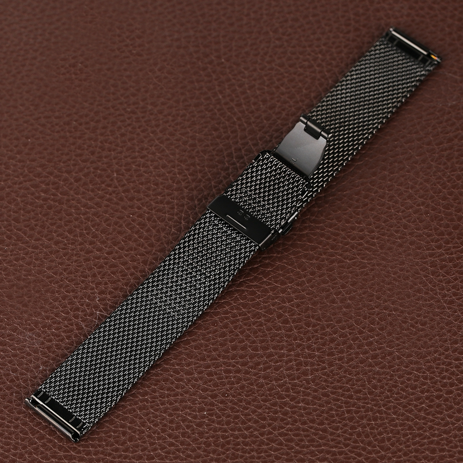 Mesh Milanese Bracelet Clasp Watchbands High Quality 18mm 20mm 22mm Silver Black Wrist Watch Band Strap for Clock Replacement 2018 (25)