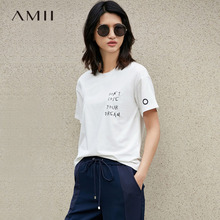 Amii Casual Women T-Shirts 2018 Summer Modal Print Letter O-Neck Short Sleeve Tees Tops(China)